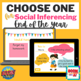 End of Year BOOM CARDS Speech Therapy social skills inferencing decision making