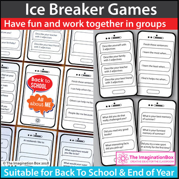 Beginning of the Year Icebreaker Cards - 90 Questions and Prompts