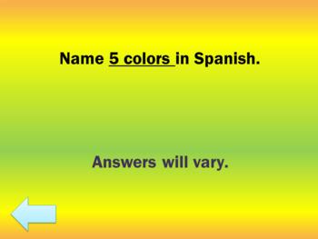 Basic Spanish Jeopardy Review