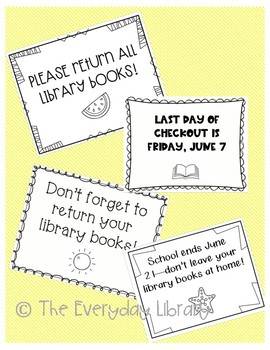 End of Year/Book Return Signs--EDITABLE!