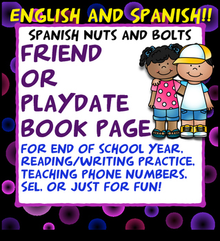 English & Spanish SEL, Playdate, End of Year Book for Primary Students