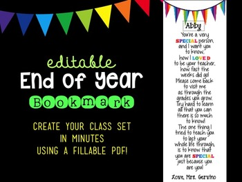 Editable End of Year Bookmark