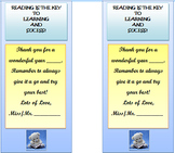 End of Year Bookmark - Reading is the Key to Learning and Sucess