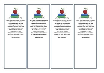 End of Year Bookmark Student Gift