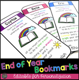 End of Year Bookmarks - Editable