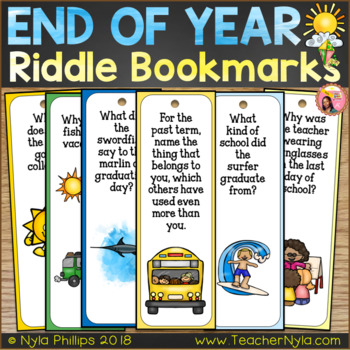 End of Year Bookmarks - Funny Riddles and Jokes