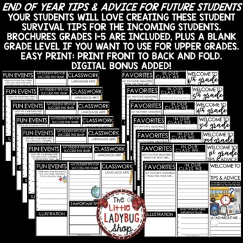 End of The Year Writing Activity Brochure: Advice for Next Year's Students EOY