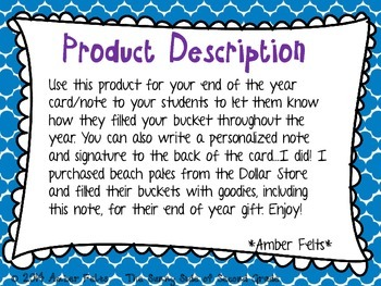 End of Year Bucket Filler Note