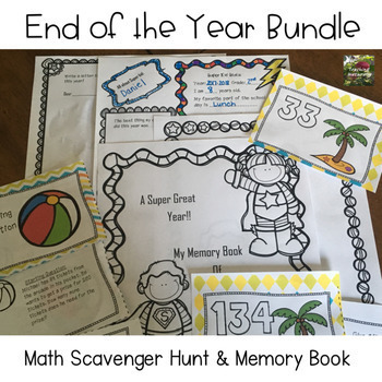 End of Year Bundle/Math Scavenger Hunt & Memory Book