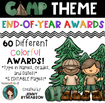 End-of-Year Camp Theme Awards! 60 Different, Colorful Awards!