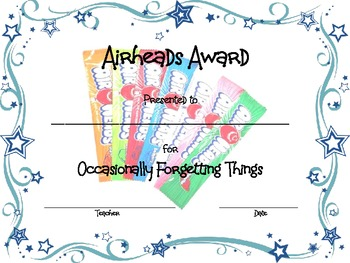 End of Year Candy Bar Award Certificates