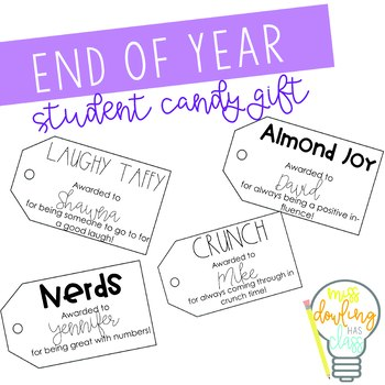 End of Year Candy Bar Superlative Tags