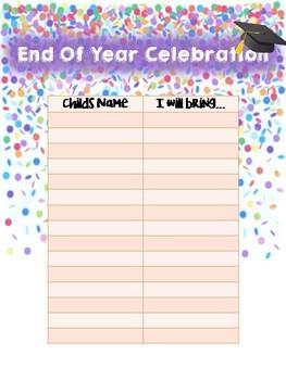 End of Year Celebration sign up sheet