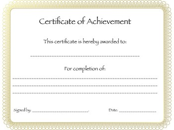 Classroom Award Certificate of Achievement