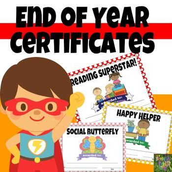 End of the Year Awards Certificates