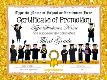 Editable End of Year Certificates - 3rd Grade