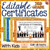 Editable End of Year Certificates - 3rd Grade - Glitter Borders with Kids