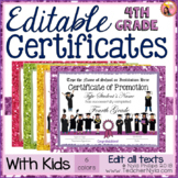 End of Year Certificates - Fourth Grade - Editable