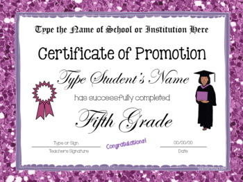 End of Year Certificates - Fifth Grade - Editable