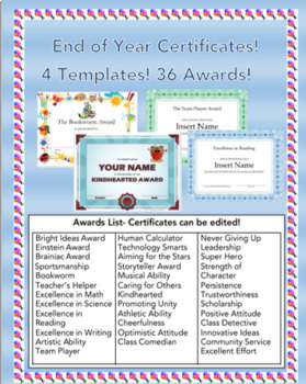 End of Year Certificates! Editable! (36 awards,4 different templates!)