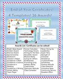 Award Certificates! Editable! (144 Possibilities!)