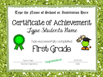 Editable End of Year Certificates for First Grade Completion- Glitter Borders