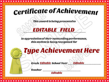 Awards Certificates of Achievement - EDITABLE