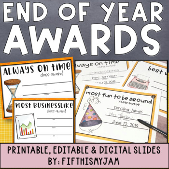 End of Year Class Awards - Editable and 'As Is' - 45 Awards!!