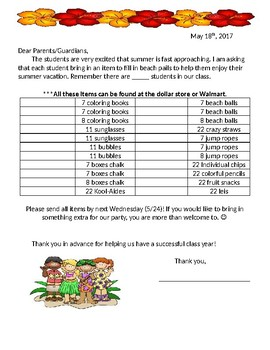 End of Year Class Party Letter- Hula Theme