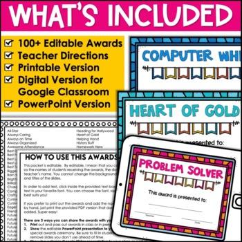 End of Year Awards Class Superlative Award Certificates