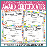 End of Year Classroom Achievement Award Certificates in color and black & white