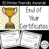 Editable End of Year Classroom Award Certificates {Printer Friendly!}