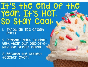 End of Year Classroom Ice Cream Awards-Fun Activity for the Last Day of School