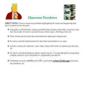 End of Year Classroom Newsletter