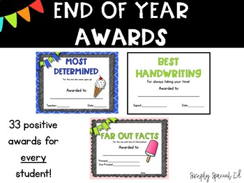 End of Year Classroom Superlatives- EDITABLE