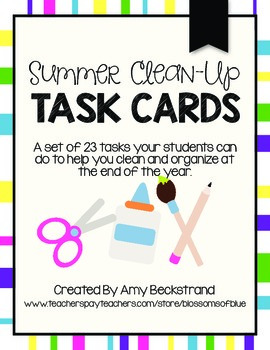 End of Year Clean Up Task Cards
