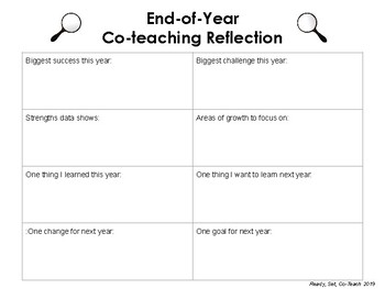 End of Year Co-Teaching Reflection Sheet