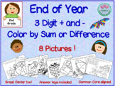 End of Year Color by Sum or Difference  - 3 Digit Math
