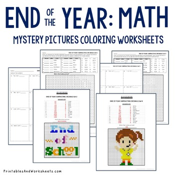 End of the Year Coloring Worksheets - Decimals