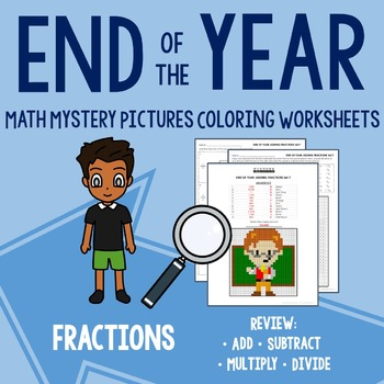 End of Year Coloring Worksheets - Fractions