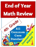 End of Year Common Core Math Review Worksheet Packet - 4th Grade