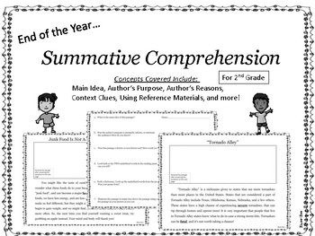 End of Year Comprehension Activities for Second Grade No Prep Informational Text