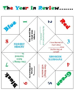 End of Year Cootie Catcher (Fortune Teller)