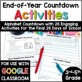 End of Year Countdown Alphabet Activities for Upper Grades