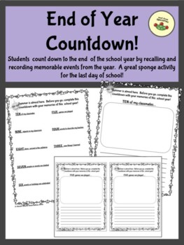 End of Year Countdown - Sponge Activity for the Last Days of School