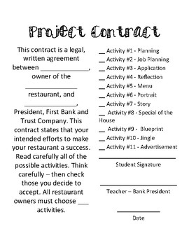 End of Year Cross Curricular Restaurant Project No Prep Printable!