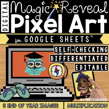 End of Year Digital Pixel Art Magic Reveal MULTIPLICATION