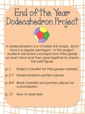End of Year Dodecahedron Project - 3rd Grade
