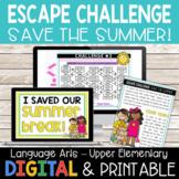 End of Year ELA Review Escape Room | Print & Go + Digital