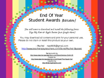 End of Year (EOY) Student Awards-Bright Colors {Editable}